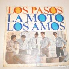 Discos de vinilo: SINGLE LOS PASOS. LA MOTO. LOS AMOS. HISPAVOX 1966 SPAIN (DISCO PROBADO Y BIEN). Lote 146430050