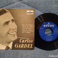 Discos de vinilo: CARLOS GARDEL - HAY UNA VIRGEN / ANSIAS DE AMOR / NIDO DE AMOR / AQUELLA CANTINA DE LA RIBERA - 1963. Lote 146465590