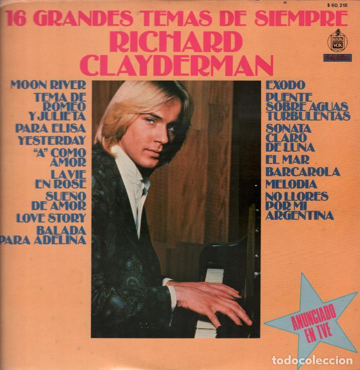 RICHARD CLAYDERMAN - 16 GRANDES TEMAS DE SIEMPRE - LP DELPHINE RECORDS 1979 RF-7150 (Música - Discos - LP Vinilo - Clásica, Ópera, Zarzuela y Marchas)