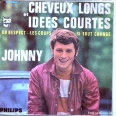 Discos de vinilo: JOHNNY HALLYDAY / CABELLOS LARGOS E IDEAS CORTAS + 3 (EP 1968). Lote 146862662