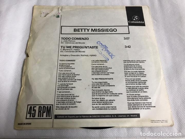 Discos de vinilo: EP BETTY MISSIEGO. TODO COMENZO - Foto 2 - 146884204