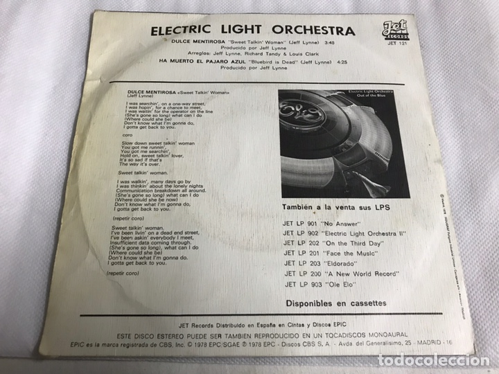Discos de vinilo: EP ELECTRIC LIGHT ORCHESTRA. DULCE MENTIROSA - Foto 2 - 146884776