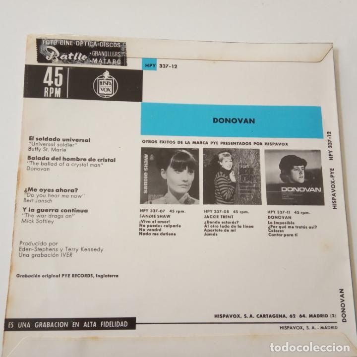 Discos de vinilo: DONOVAN- EL SOLDADO UNIVERSAL - SPAIN EP 1965 - EXC. ESTADO. - Foto 2 - 146991266