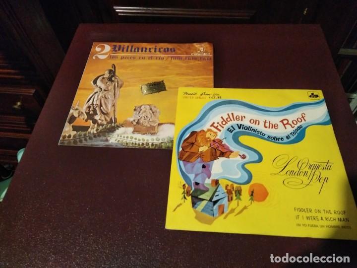 LOTE DOS SINGLES - 2 VILLANCICOS + EL VIOLINISTA SOBRE EL TEJADO - ORQUESTA LONDON POP. (Música - Discos de Vinilo - EPs - Clásica, Ópera, Zarzuela y Marchas)