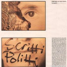 Discos de vinilo: SCRITTI POLITTI - FIRST BOY IN TOWN / WORLD COME BACK TO LIFE LP MAXISINGLE VIRGIN DE 1988, RF-7184. Lote 147145330