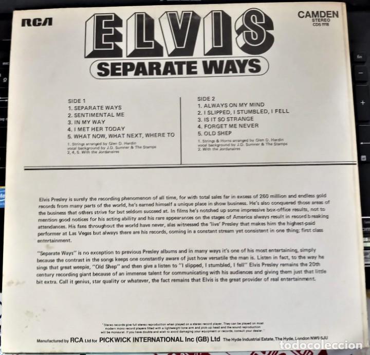 Discos de vinilo: ELVIS PRESLEY - SEPARATE WAYS - LP / RCA CAMDEN UK - PUBLICADO 1974 - Foto 2 - 147155902