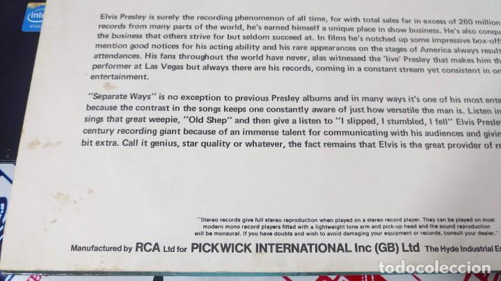 Discos de vinilo: ELVIS PRESLEY - SEPARATE WAYS - LP / RCA CAMDEN UK - PUBLICADO 1974 - Foto 4 - 147155902
