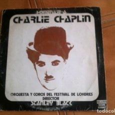 Discos de vinilo: LP HOMENAJE A CHARLIE CHAPLIN ORQUESTA Y COROS DEL FESTIVAL DE LONDRES. Lote 147162990