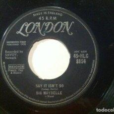 Discos de vinilo: BIG MAYBELLE - SAY IT ISN´T SO / BABY WONT YOU PLASE - SINGLE UK 1958 - LONDON. Lote 147230370