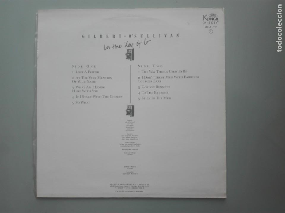 Discos de vinilo: GILBERTO O SULLIVAN ON THE KEY OF G # - Foto 2 - 253569430