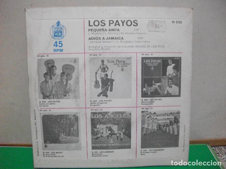 Discos de vinilo: Los Payos Pequeña Anita Adiós a Jamaica 1969 Single 45 rpm vinilo - Foto 2 - 147307062