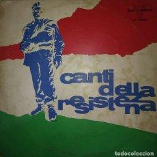 Discos de vinilo: CANTI DELLA RESISTENZA. BELLA CIAO. FOLK. DISCOS POLÍTICOS EN ITALIANO.. Lote 122102363