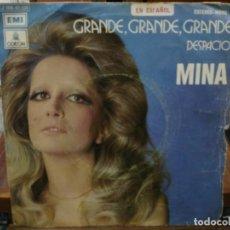 Discos de vinilo: MINA - GRANDE, GRANDE, GRANDE / DESPACIO - SINGLE DEL SELLO ODEÓN 1972. Lote 147455966
