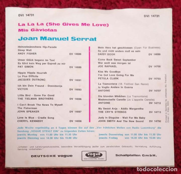 Discos de vinilo: JOAN MANUEL SERRAT (SHE GIVES ME LOVE (LA LA LA) + GAVIOTA) Single Grand Prix Eurovision 1968 - Foto 2 - 147509158
