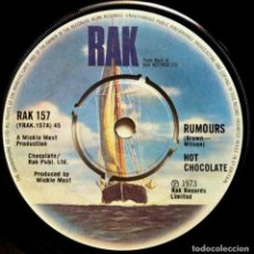 Discos de vinilo: HOT CHOCOLATE - RUMOURS / A MAN NEEDS A WOMAN - SINGLE UK 1973 - RAK. Lote 147517146