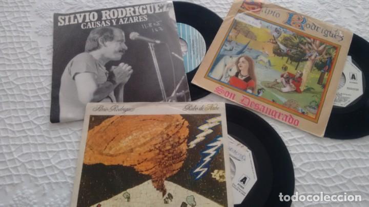 LOTE DE 3 SINGLES (VINILO) DE SILVIO RODRIGUEZ (Musik - Vinyl-Schallplatten - Singles - Gruppen und Solisten aus Lateinamerika)