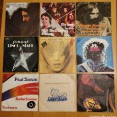 Discos de vinilo: LOTE 9 SINGLES HARRISON, RINGO STAR, MCCARTNEY, BOB DYLAN, ROLLINGS, ELO, PAUL SIMON. Lote 147534221