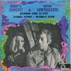 Discos de vinilo: BRIGITTE BARDOT & SERGE GAINSGOURG / BONNIE AND CLYDE / COMIC STRIP / BUBBLE GUM (EP ESPAÑOL 1964). Lote 147562234