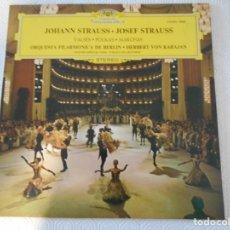 Discos de vinilo: JOHAN STRUSS - JOSEF STRAUSS. VALSES. POLKAS. MARCHAS. ORQUESTA FILARMONICA DE BERLIN. HERBERT VON K. Lote 147574598