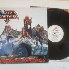 Discos de vinilo: LIZZY BORDEN MENACE TO SOCIETY LP. Lote 147576689