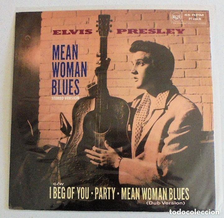 ELVIS PRESLEY MEAN WOMAN BLUES - MAXI SINGLE RARO 45 RPM 1989 UK - DISCO DE VINILO NM (Música - Discos de Vinilo - Maxi Singles - Rock & Roll)