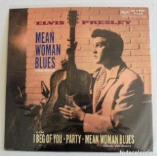 Discos de vinilo: ELVIS PRESLEY MEAN WOMAN BLUES - MAXI SINGLE RARO 45 RPM 1989 UK - DISCO DE VINILO NM. Lote 165930300