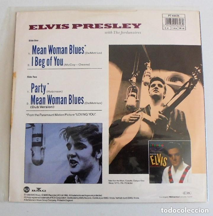 Discos de vinilo: ELVIS PRESLEY MEAN WOMAN BLUES - MAXI SINGLE RARO 45 RPM 1989 UK - DISCO DE VINILO NM - Foto 2 - 165930300