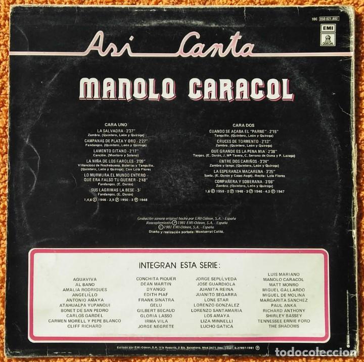 Discos de vinilo: VINILO LP Manolo Caracol - Asi Canta - EMI-Odeon - 1958 MUY RARO - Foto 2 - 147639166