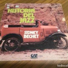Discos de vinilo: SIDNEY BECHET. HISTORIA DEL JAZZ. VINILO EN BUEN ESTADO PERO CARPETA ROTA Y CON PEGATINAS. . Lote 147648706