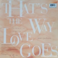 Discos de vinilo: JANET JACKSON * THAT'S THE WAY LOVE GOES * MAXI VINILO * NUEVO !! RARO STICKER EXCLUSIVO. Lote 147663069