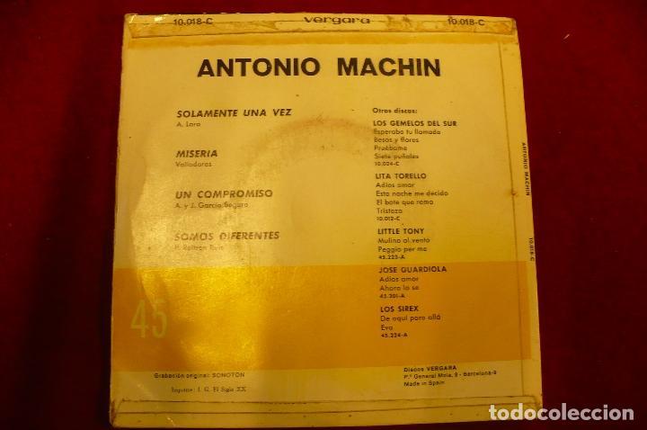 Discos de vinilo: antonio machin -- solamente una vez / miseria / un compromiso / somos diferentes, vergara 1967. - Foto 2 - 147677462