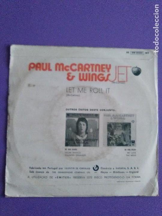 Discos de vinilo: MUY RARO SINGLE.PORTUGAL 1973 PAUL MCCARTNEY & WINGS.JET / LET ME ROLL IT.APPLE REC.SE 006 055554 MF - Foto 3 - 147705778