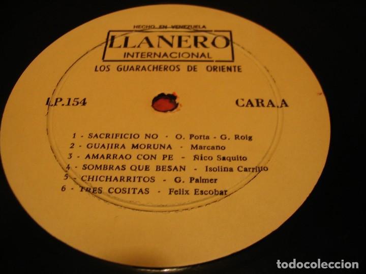 Discos de vinilo: LOS GUARACHEROS DE ORIENTE LP GRANDES ÉXITOS LLANERO VENEZUELA GUARACHA - Foto 3 - 147726142