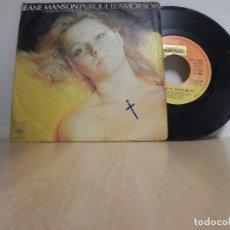 Discos de vinilo: JEANE MANSON - PORQUE EL AMOR SE VA / I LOVE YOU. Lote 147726538