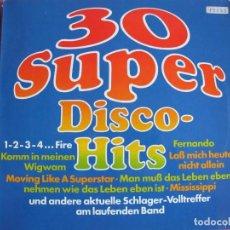 Discos de vinilo: LP - 30 SUPER DISCO-HITS - VARIOS (GERMANY, SOR INTERNATIONAL SIN FECHA). Lote 147737246
