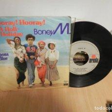 Discos de vinilo: SINGLE BONEY M - HOORAY HOORAY IT'S A HOLI HOLIDAY Y RIBBONS OF BLUE - VINILO . Lote 147737906
