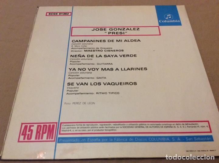 Discos de vinilo: JOSÉ GONZÁLEZ, PRESI - CAMPANINES DE MI ALDEA +3. columbia 1969. - Foto 2 - 147785802