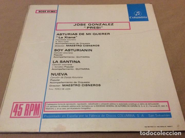 Discos de vinilo: JOSE GONZALEZ, PRESI. Asturias de minquer, la diana. +3. COLUMBIA 1969. - Foto 2 - 147786106