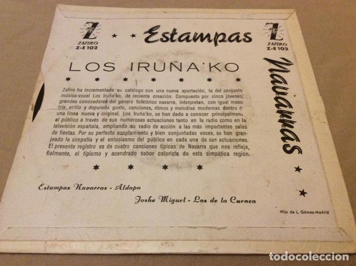 Discos de vinilo: LOS IRUÑAKo. Estampas navarras/Aldapa/Joshe Miguel/Los de la cuenca. 1959 Zafiro. - Foto 2 - 147786242