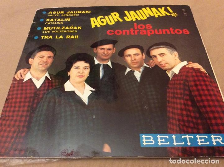LOS CONTRAPUNTOS. AGUR JAUNAK+3. PORTADA ABIERTA-LETRAS. BELTER 1967. (Música - Discos de Vinilo - EPs - Étnicas y Músicas del Mundo)