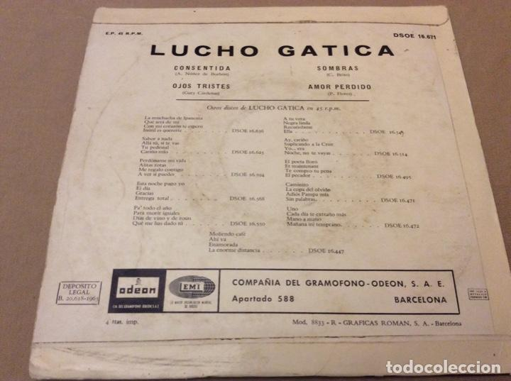 Discos de vinilo: LUCHO GATICA - CONSENTIDA, ojos tristes, sombras, amor perdido. EMI 1965. - Foto 2 - 147787378