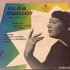 Discos de vinilo: OLGA GUILLOT - MIÉNTEME - PALABRAS CALLADAS - VIVIR DE LOS RECUERDOS - DELIRIO. MONTILLA.. Lote 147819998