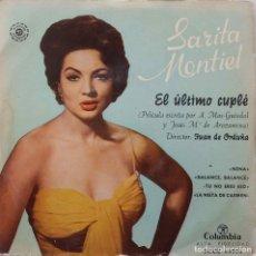 Discos de vinilo: SARITA MONTIEL. EL ÚLTIMO CUPLÉ. NENA. BANDA SONORA EP. Lote 147834010