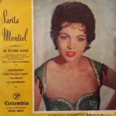 Discos de vinilo: SARITA MONTIEL. EL ÚLTIMO CUPLÉ. CLAVELITOS. BANDA SONORA EP. Lote 147835082