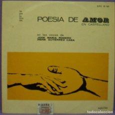 Discos de vinilo: LA PALABRA, DISCOS AGUILAR - POESÍA DE AMOR EN CASTELLANO - CON J. MARÍA RODERO E I. GUTIÉRREZ CABA. Lote 147845826
