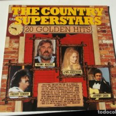 Discos de vinilo: THE COUNTRY SUPERSTARS. 20 GOLDEN HITS. FREDDY FENDER, KENNY ROGERS, LYNN ANDERSON, JOHNNY CASH.. Lote 147862730