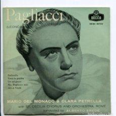 Discos de vinilo: MARIO DEL MONACO PAGLIACI.. DECCA 1958. EP. Lote 147870354