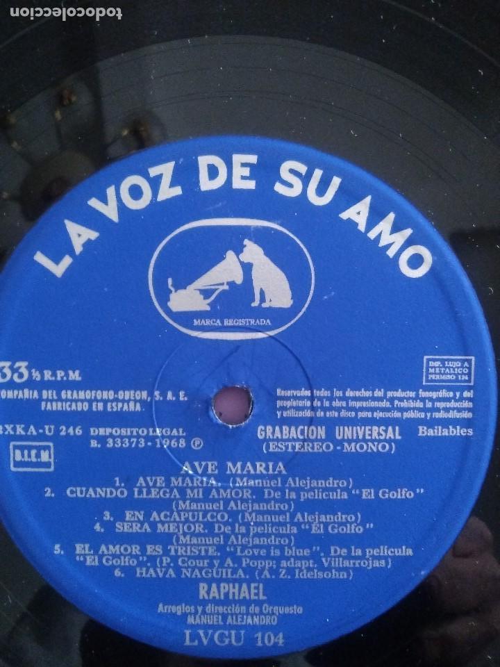 Discos de vinilo: GENIAL LP 1968.RAPHAEL.LP DE LA PELICULA EL GOLFO.LA VOZ DE SU AMO.LVG-U.104.FIRMADO POR EL ARTISTA. - Foto 7 - 147882302