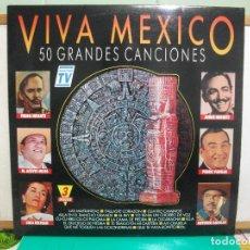 Discos de vinilo: TRIPLE DISCO LP DE VINILO VIVA MEXICO 50 GRANDES CANCIONES, EDITADO POR DIVUCSA EN 1991 PEPETO. Lote 147890010