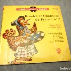 Discos de vinilo: RONDES ET CHANSONS DE FRANCE Nº 2 - VERNAY (PHILIPS LIVRE-DISQUE, 1955). LIBRETO 12 PÁG.. Lote 147912506